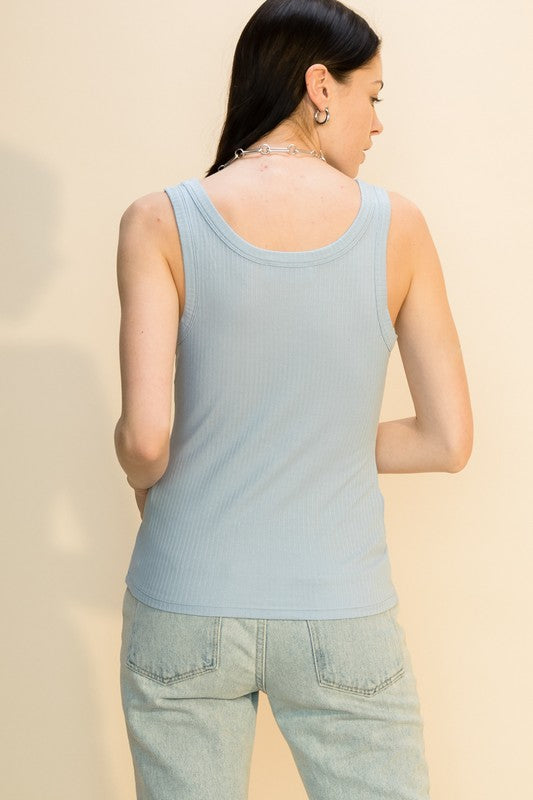 ALLIE RIBBED TANK- SOFT BLUE