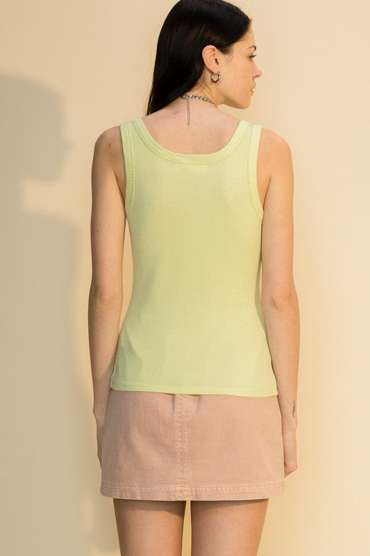 ALLIE RIBBED TANK-LIME