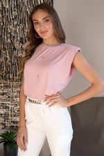 SHOULDER PAD TEE- ROSE PINK