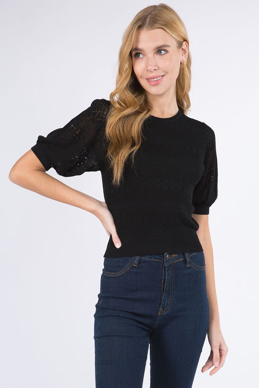 PUFF POINTELLE SWEATER- BLACK