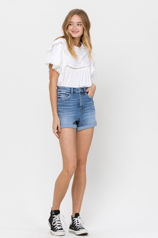 MANHATTAN HIGH RISE DENIM SHORTS