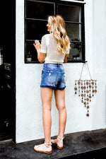PERFECT PLACE DENIM SHORTS