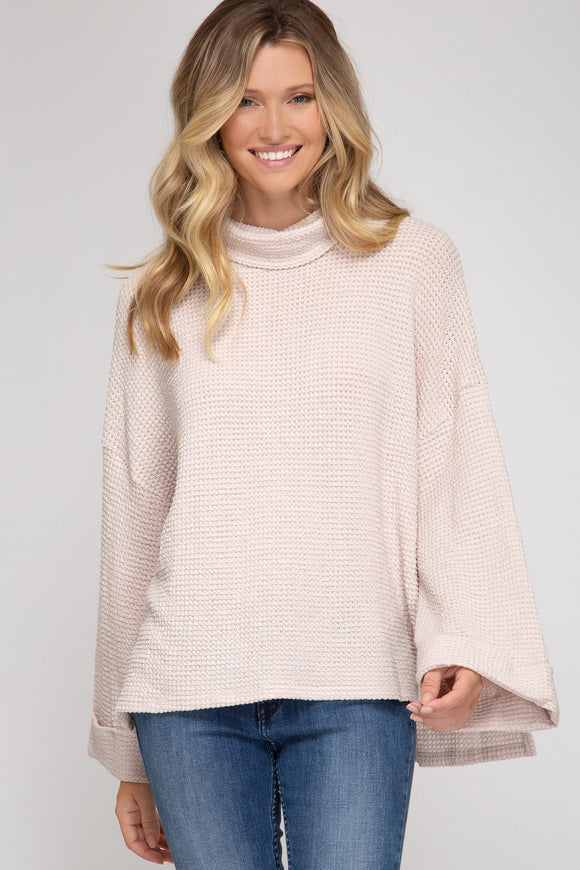 THERMAL TURTLE NECK KNIT TOP- TAUPE