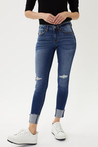 LOW RISE SKINNY FOLD OVER HEM- Dark Wash