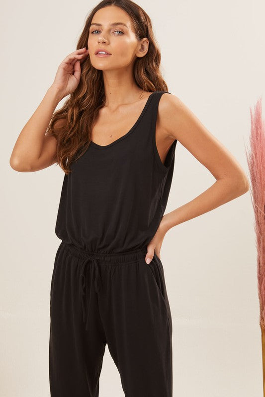 EVERYDAY DRAWSTRING PANTSUIT- BLACK