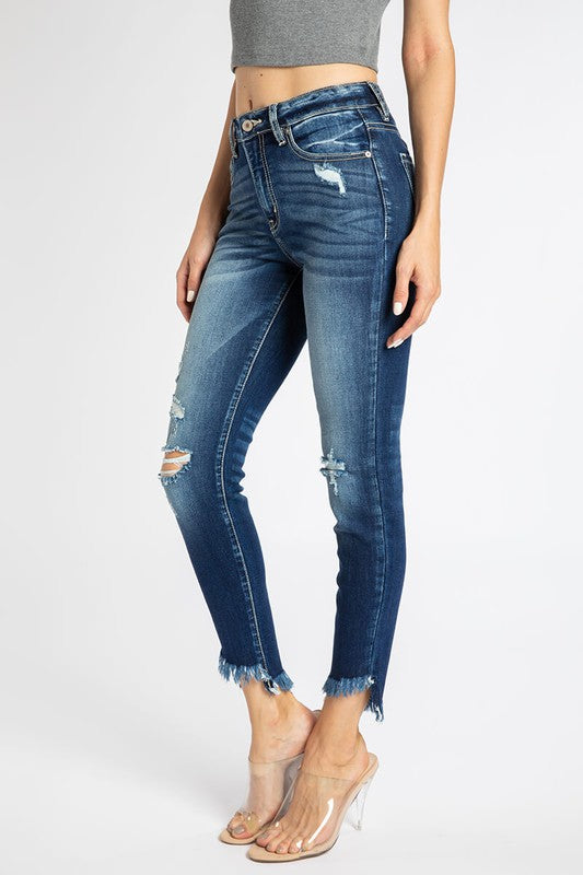 HIGH RISE SKINNY DISTRESSED HEM- Dark Wash