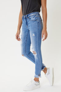MID RISE SKINNY DISTRESSED HEM- Medium Wash