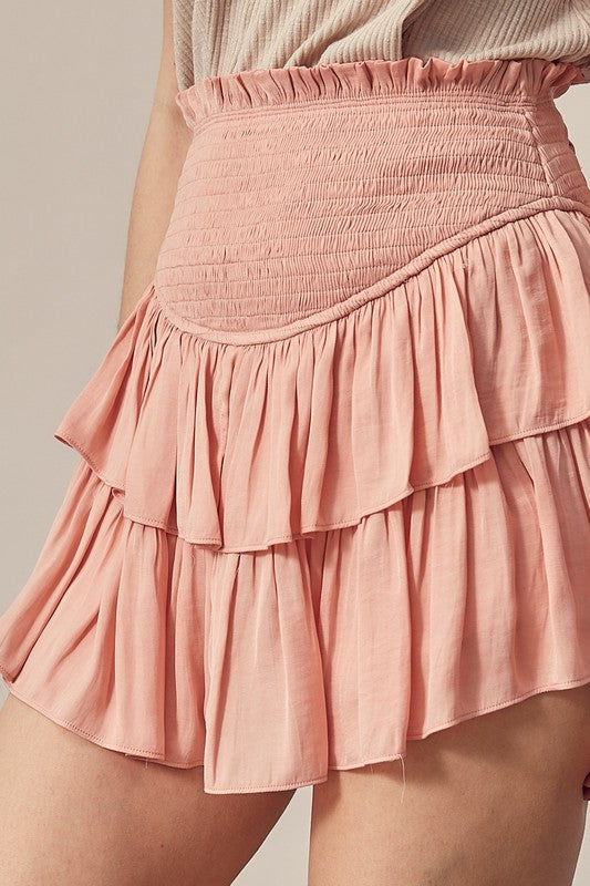 SMOCKED RUFFLE SKORT- CORAL CLOUD
