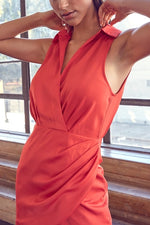 TURN HEADS COLLAR DRESS- TOMATO
