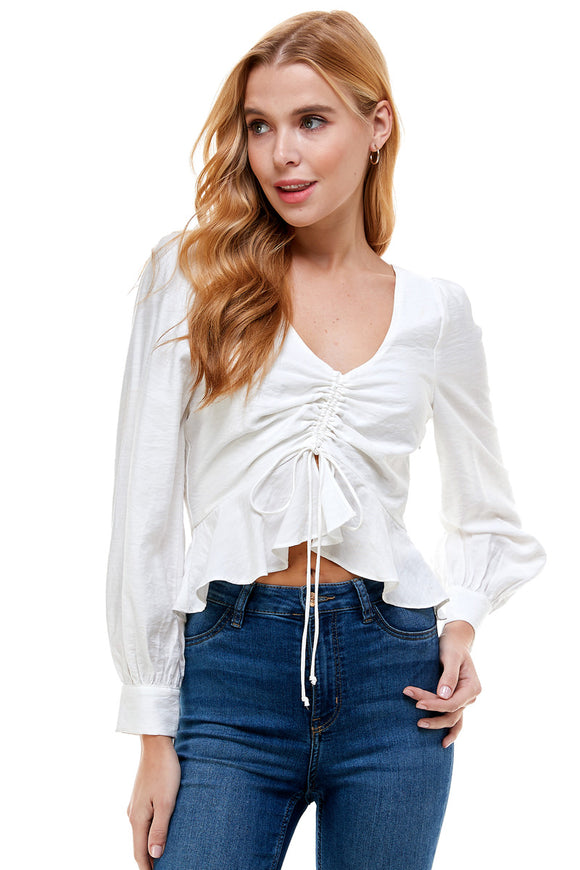 FRONT RUCHED TOP- WHITE