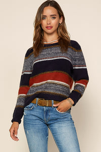 MARLED COLORBLOCK SWEATER- NAVY