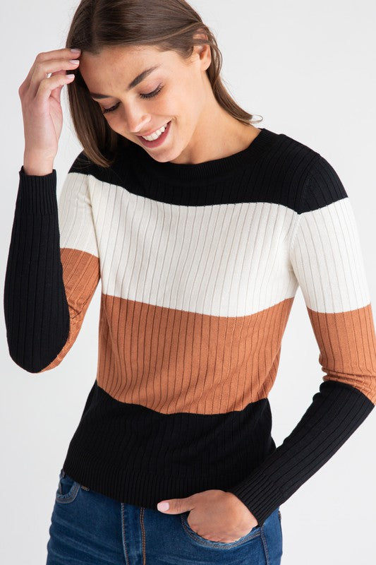 RIBBED COLORBLOCK KNIT SWEATER