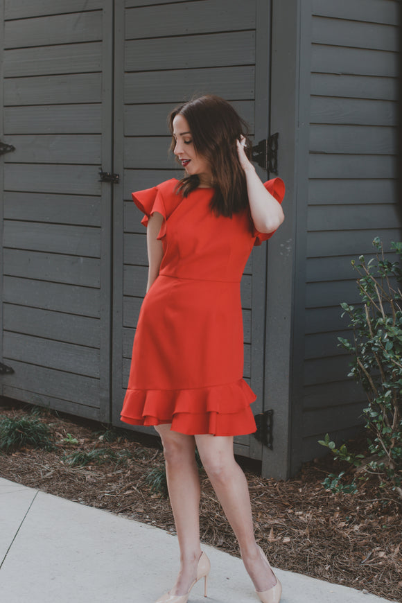 HAILEY RUFFLE DRESS- RED