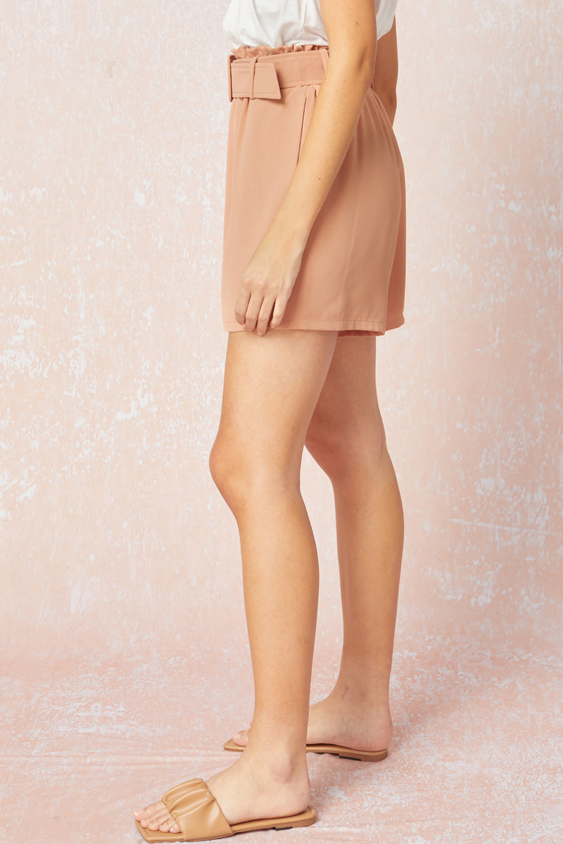 CHIC BELTED SHORTS- TERRACOTTA