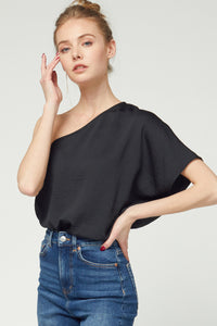 SOLID TEXTURED ONE SHOULDER TOP- Black