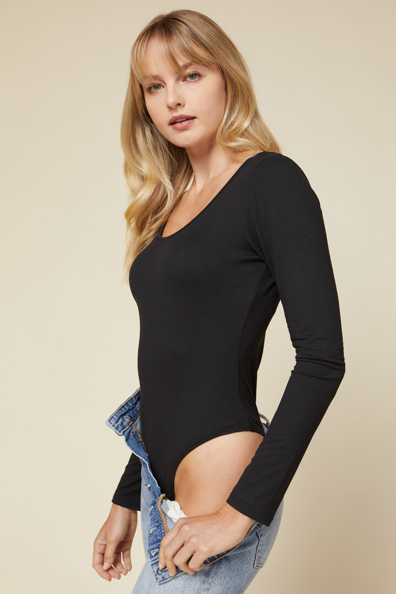SCOOP NECK BODYSUIT- BLACK
