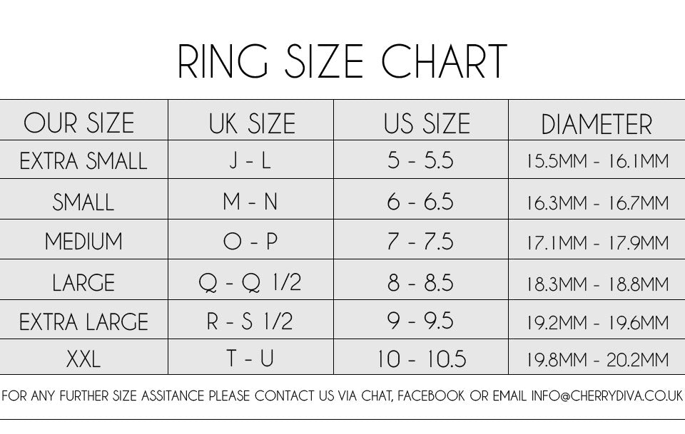 ring size chart, UK US MM