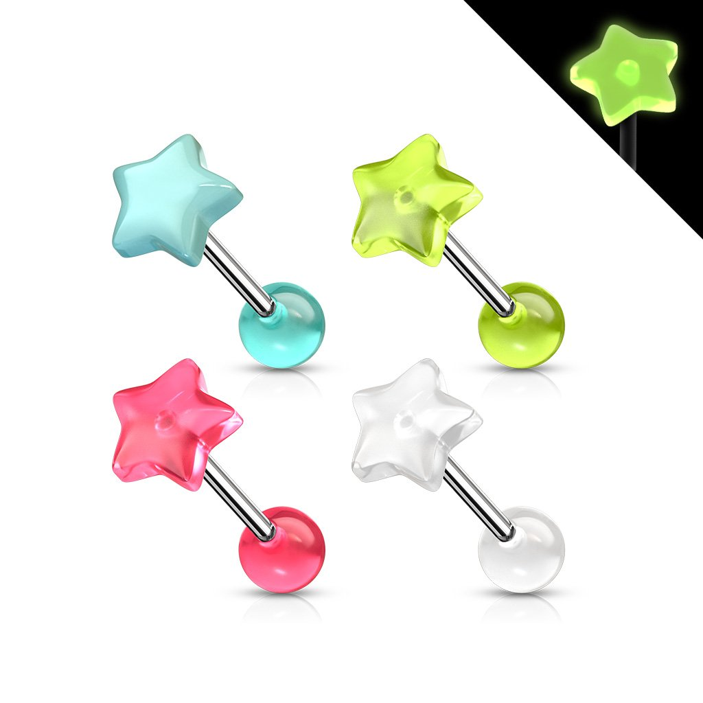 14 Gauge Star Top Glow In the Dark Barbell