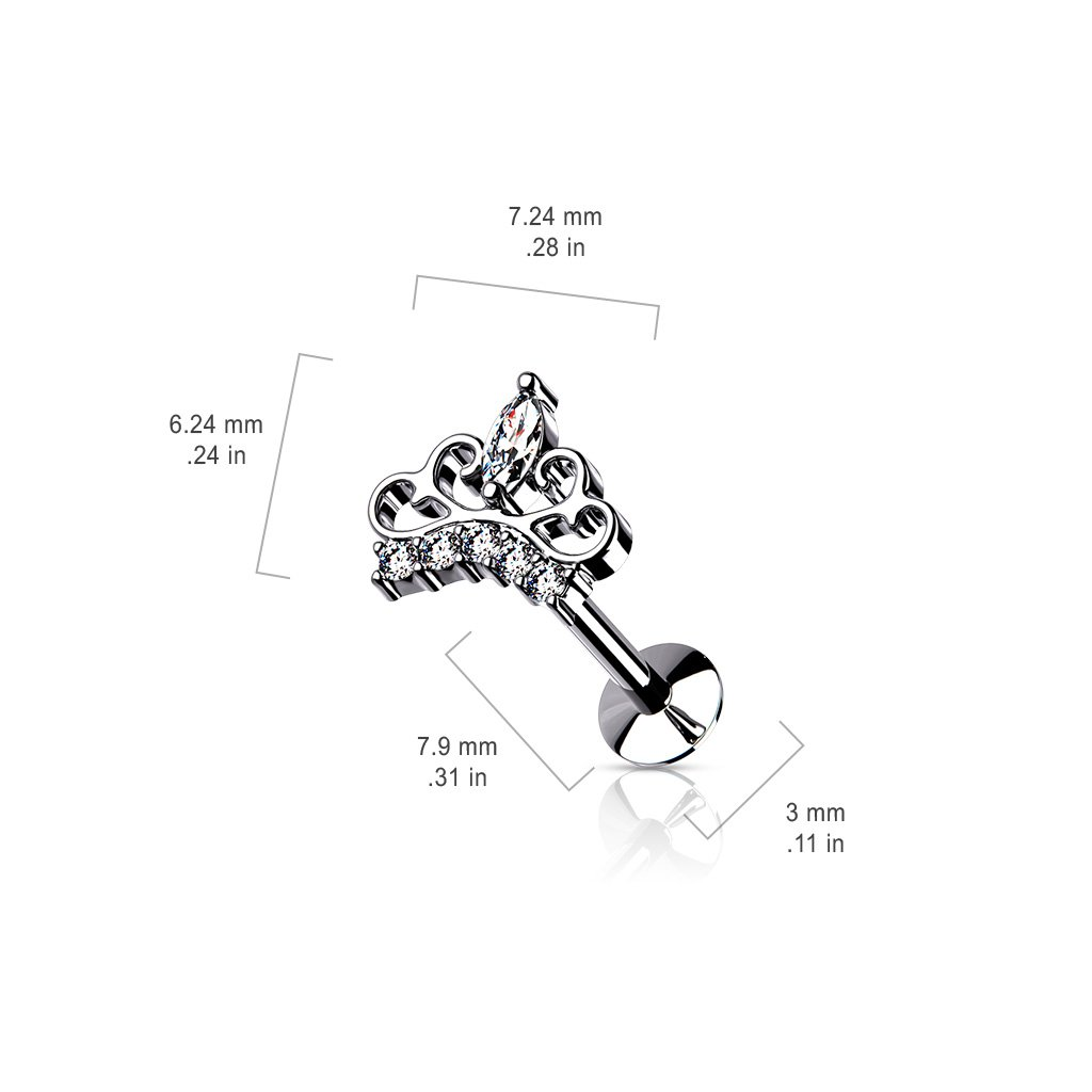16 Gauge Push Fit Crystal Tiara Flat Back Stud