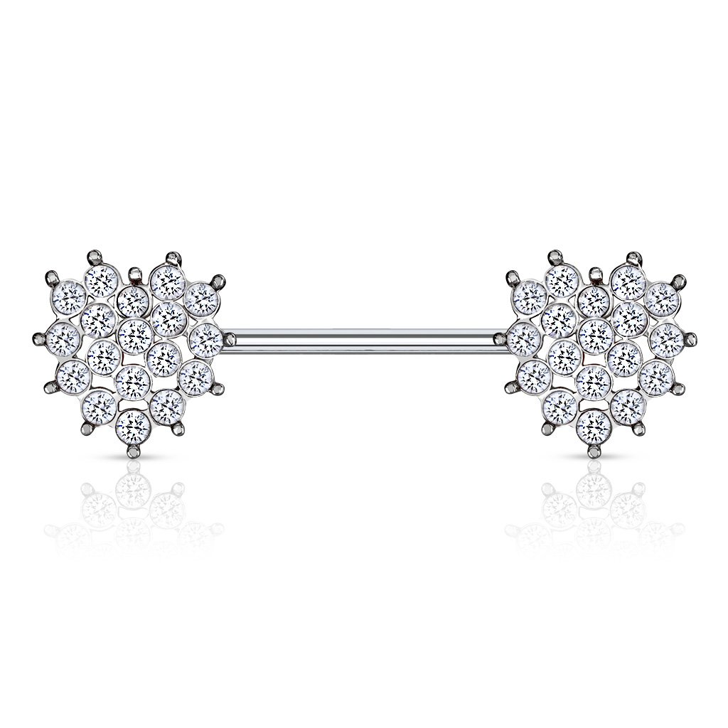 Crystal Cluster Heart Barbell Nipple Ring