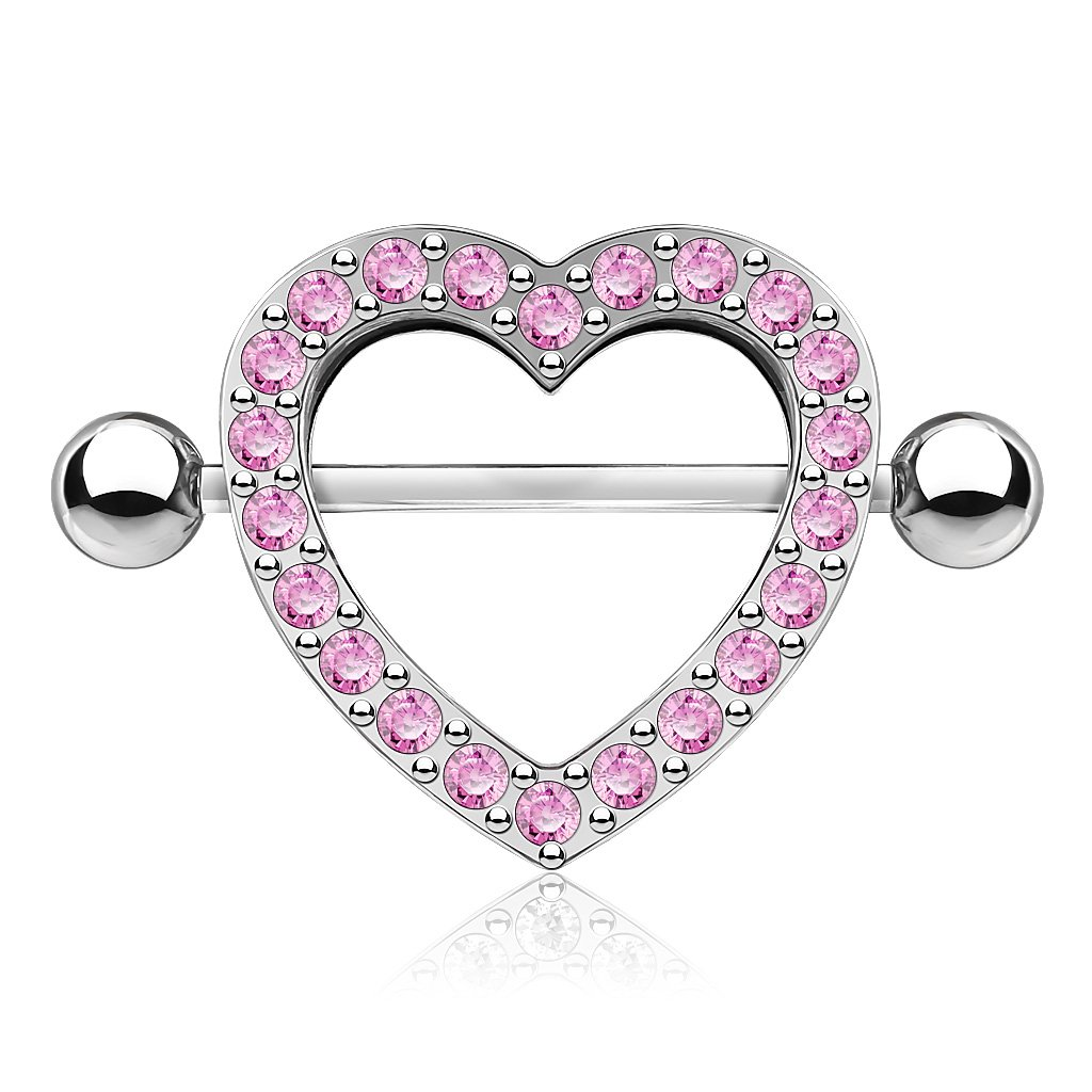 Crystal Heart Nipple Shield Barbell - Pink