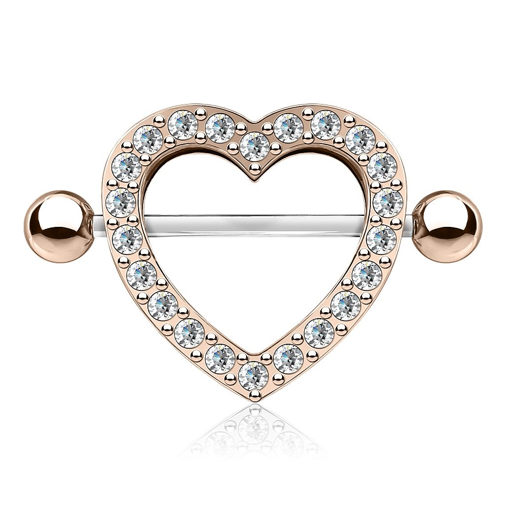 Crystal Heart Nipple Shield Barbell - Rose Gold