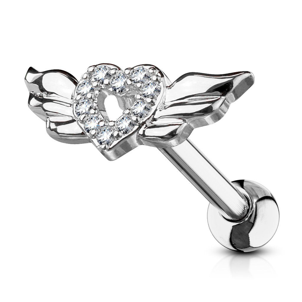 Crystal Heart & Wings Cartilage / Tragus Barbell Stud