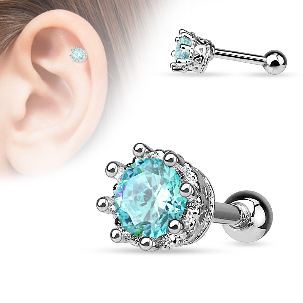 Dainty Crystal Crown Cartilage / Tragus Barbell Stud