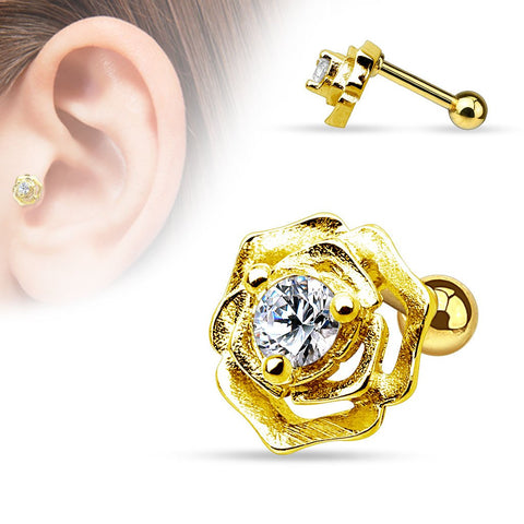 Golden Rose Cartilage / Tragus Barbell Stud