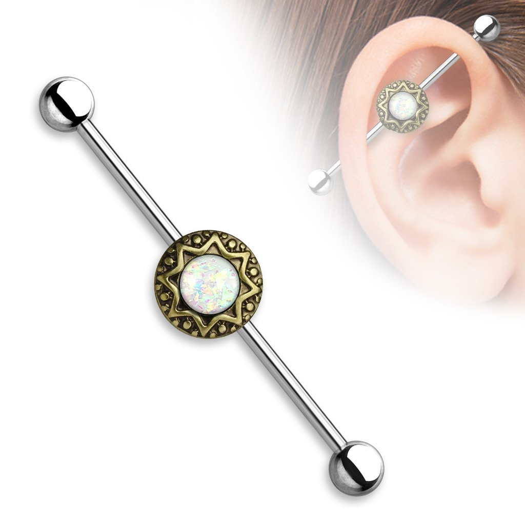 Opal Dreams Industrial Barbell - Gold