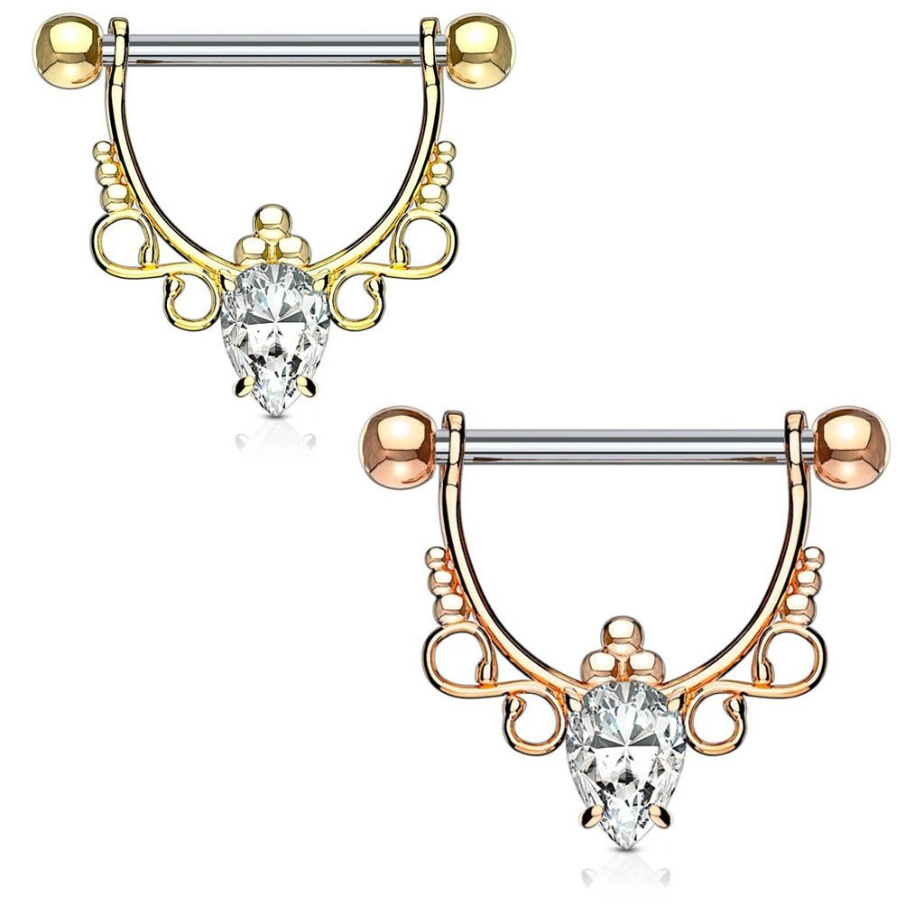 Ornate Crystal Barbell Nipple Ring