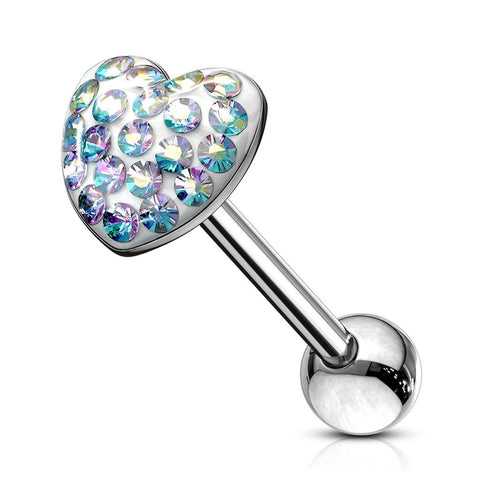 Paved Crystal Heart Surgical Steel Barbell