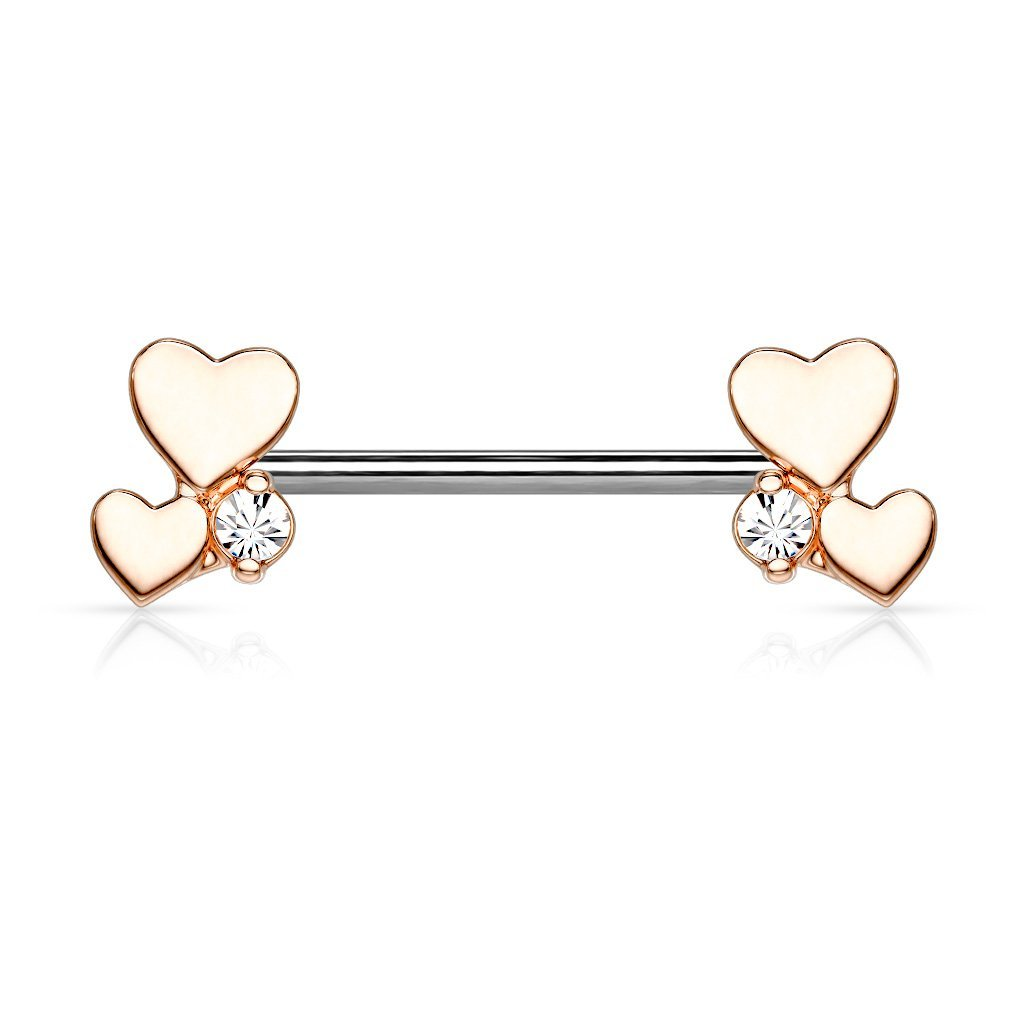 Rose Gold Dainty Hearts Nipple Barbell