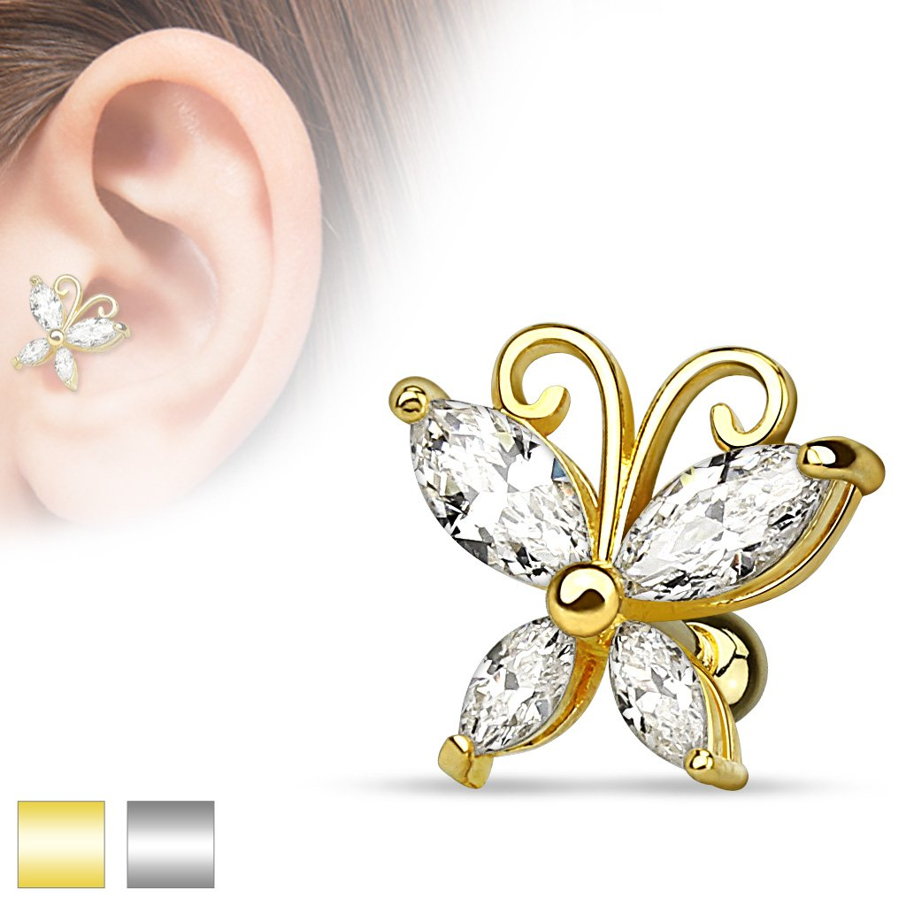 Silver / Gold Crystal Butterfly Cartilage / Tragus Barbell Stud