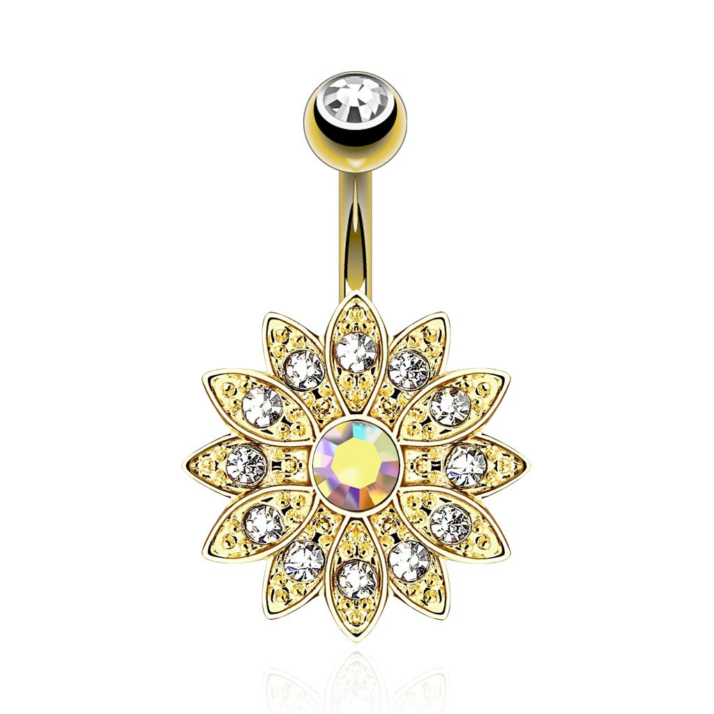 Aurora Flower Crystal Belly Button Ring - Gold