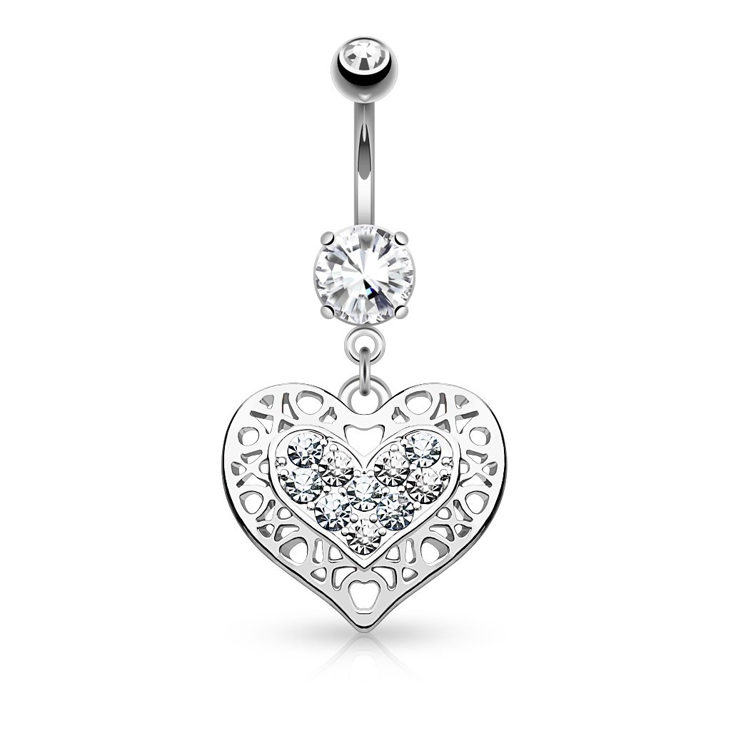 Cut Out Crystal Heart Belly Button Ring