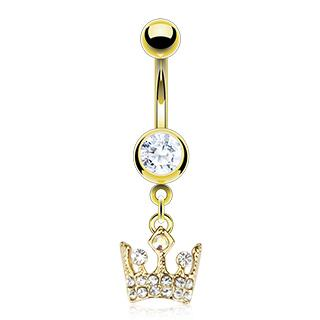 Dangling Crystal Crown Belly Button Ring