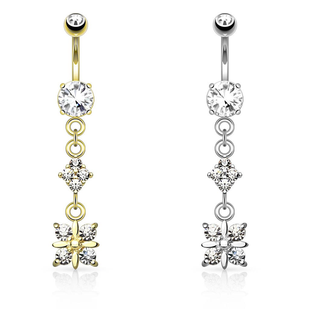 Dangling Diamond Belly Button Ring Gold / Silver