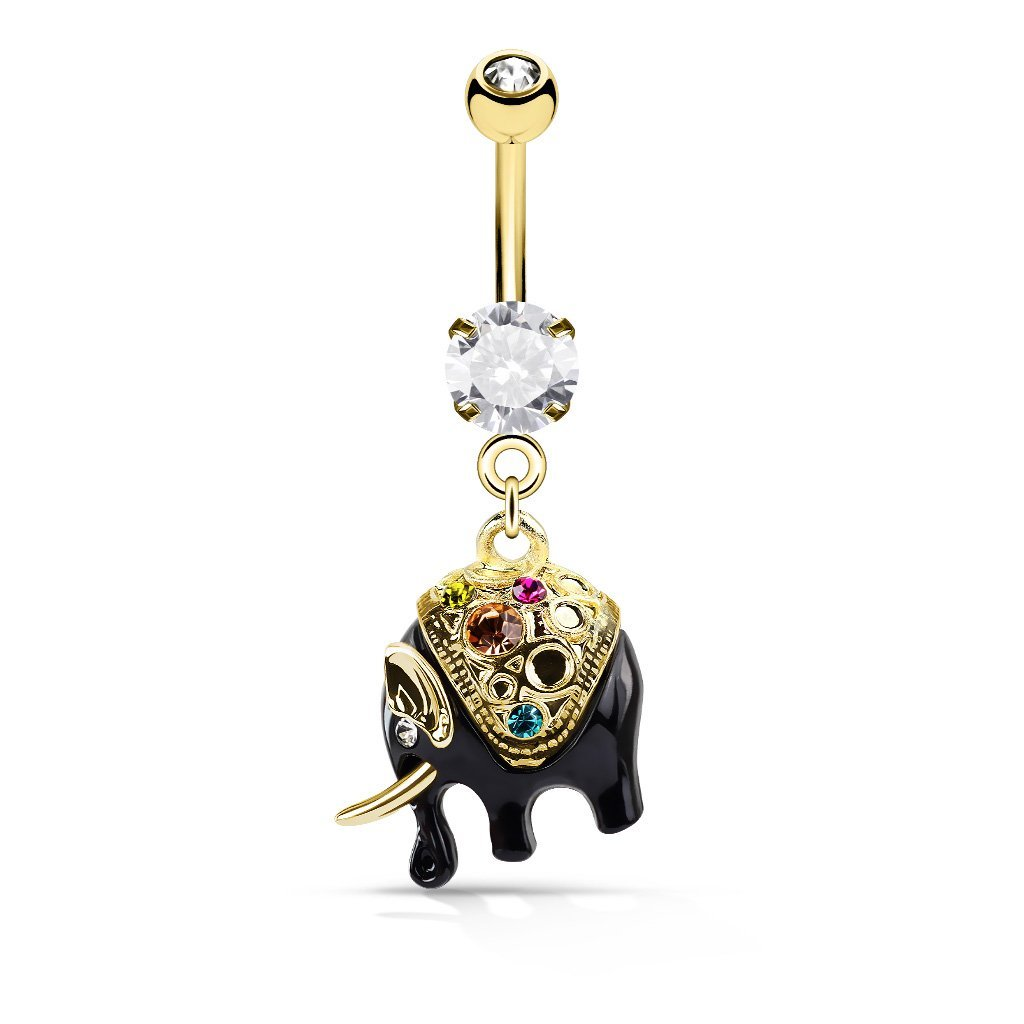 Dangling Elephant Belly Bar - Gold