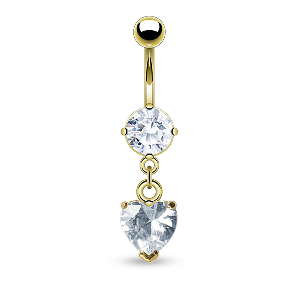 Dangling Golden Heart Belly Button Ring