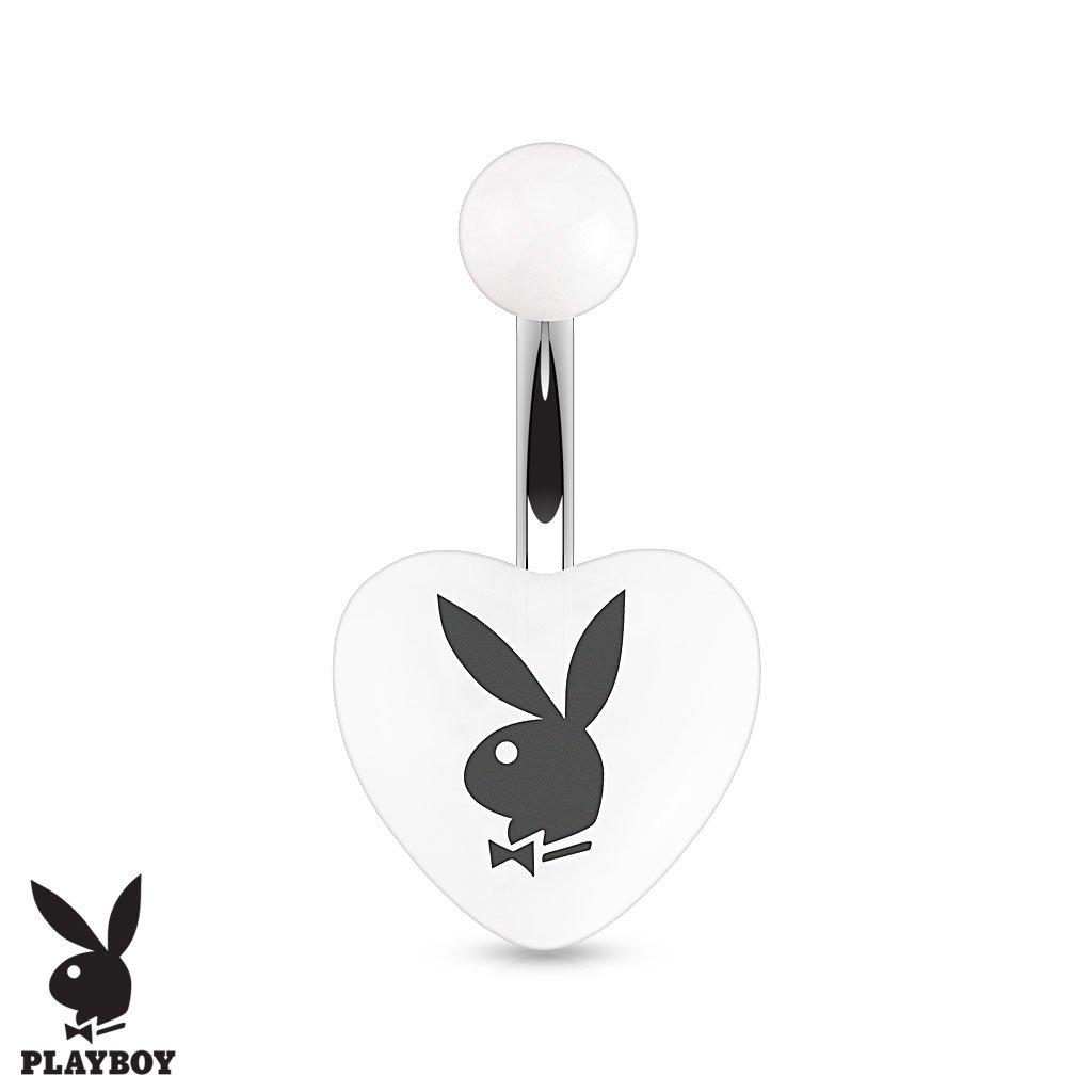 Official Playboy Acrylic Heart Belly Button Ring