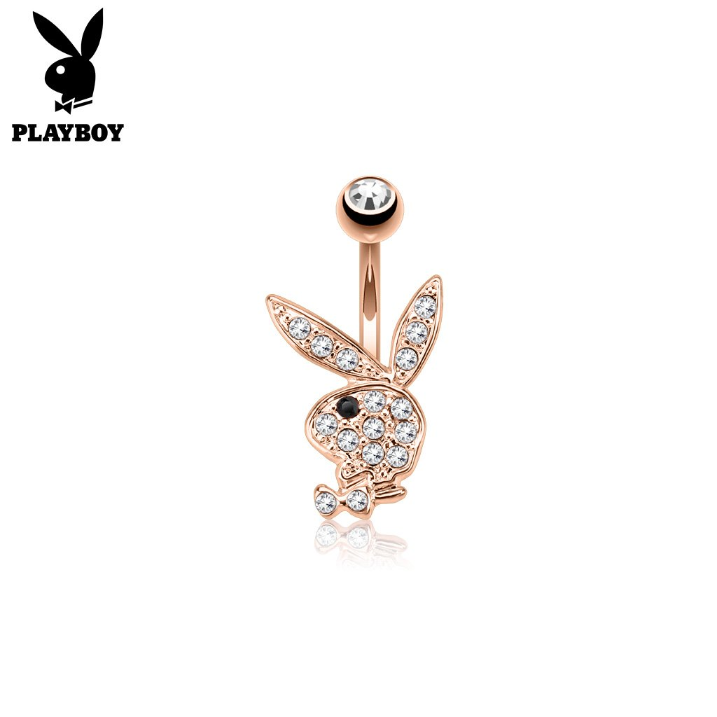 Official Playboy Crystal Paved Belly Button Ring - Gold