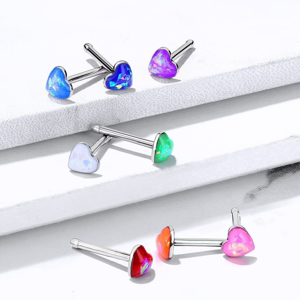 Opal Serenity Heart Nose Stud