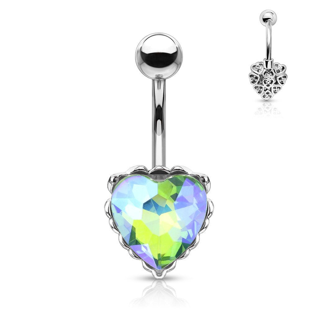 Princess Jasmine Heart Filigree Belly Bar - Aurora