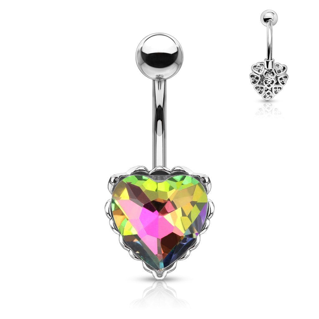 Princess Jasmine Heart Filigree Belly Bar - Rainbow