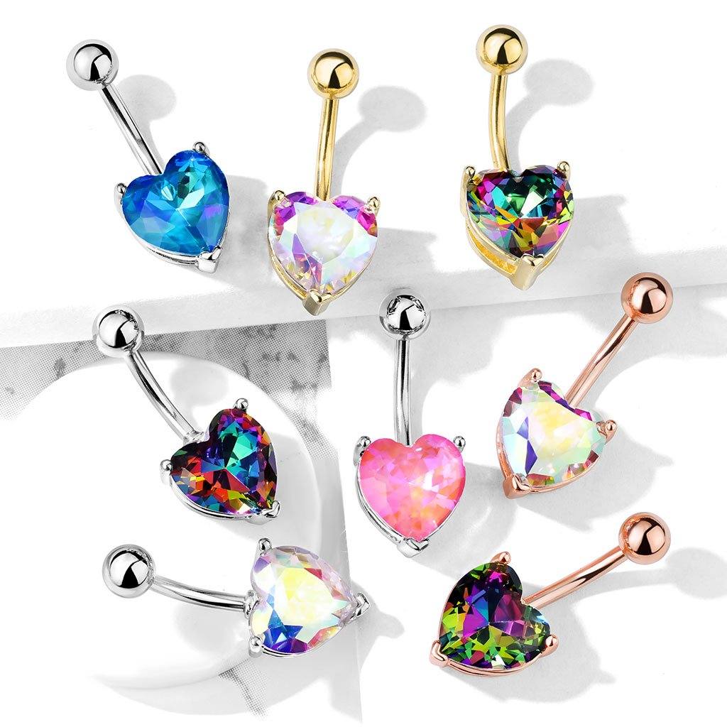 Prong Set Crystal Heart Belly Button Ring