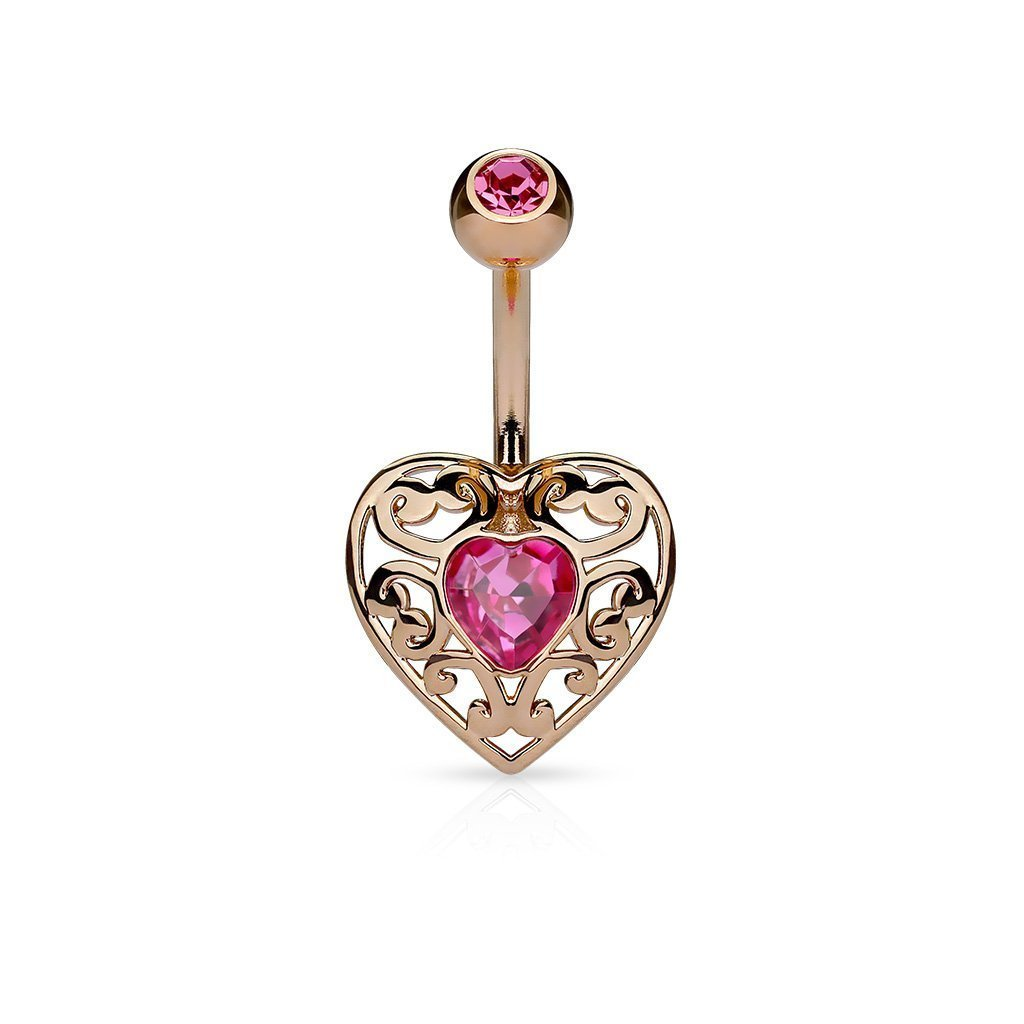 Pink Rose Gold Filigree Heart Belly Bar