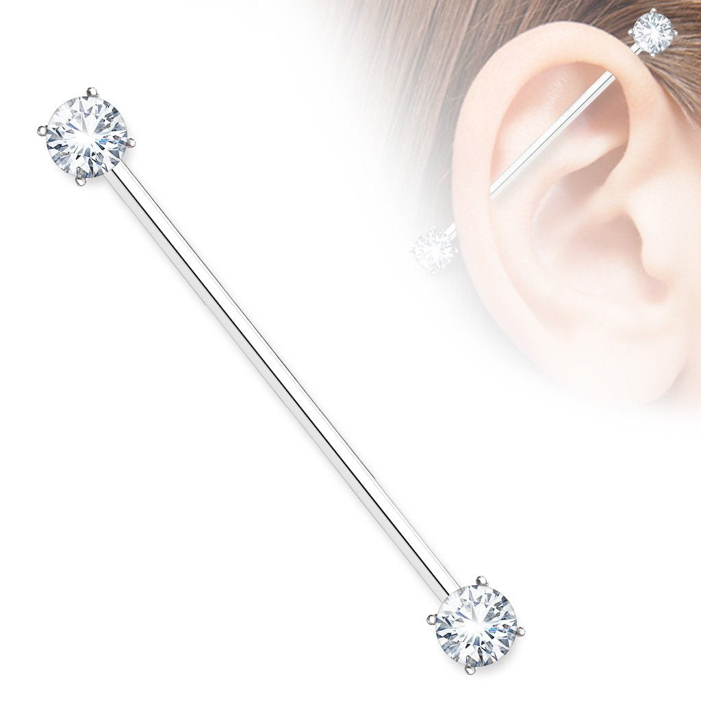 Silver Crystal Industrial Barbell