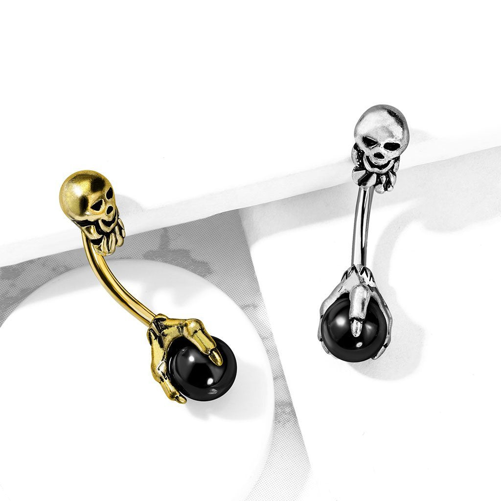 Spooky Skull Onyx Belly Button Ring - Gold