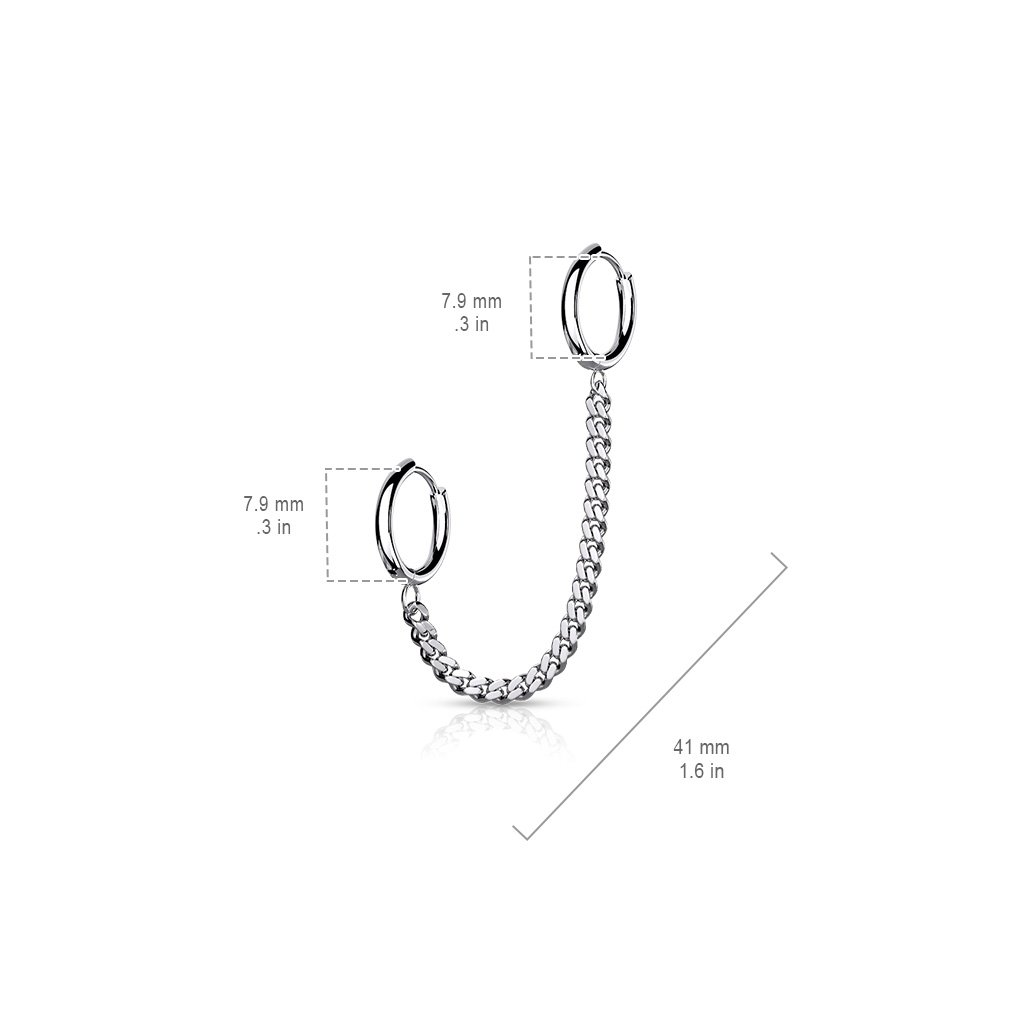Chain Linked Round Clicker Ear Hoop Earrings